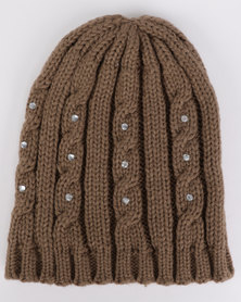 All Heart Ribbed Bling Beanie Brown