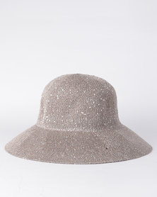 All Heart  Sequin Hat Taupe