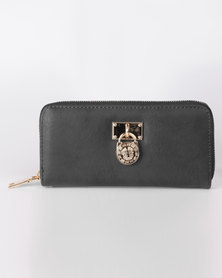 All Heart Zip Up Purse With Medallion Detail Black