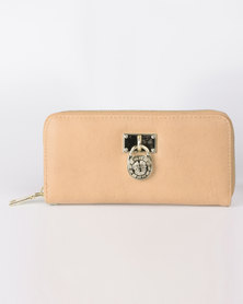 All Heart Zip Up Purse With Medallion Detail Camel