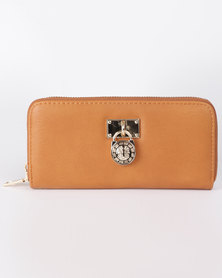 All Heart Zip Up Purse With Medallion Detail Tan