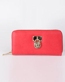 All Heart Zip Up Purse With Medallion Detail Red