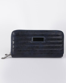 All Heart Quilted Double Zip Purse Navy