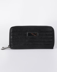 All Heart Quilted Double Zip Purse Black