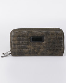 All Heart Quilted Double Zip Purse Khaki