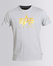 Alpha Industries Flying A Foil Tee Grey Melange