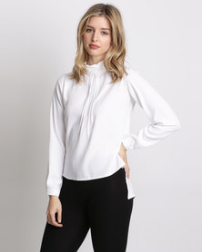 Amanda May The Scarf Tie Pintuck Blouse White
