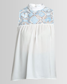 Amanda May Aztec Lace And Silk Combination Top Blue/White