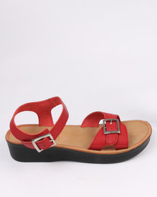 Angelsoft Ladies Leather Comfort Slingback Wedge Sandal Red