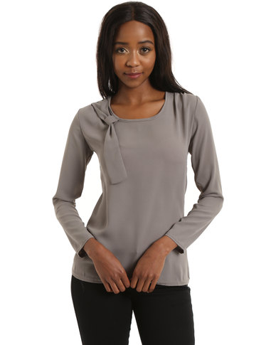 Amazing Hayden Clothing Plus Size Long Sleeve Blouse In Taupe H3363WTAUPE
