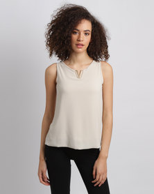 Assuili William de Faye V Neck Top Light Beige