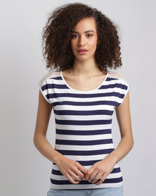 Assuili William de Faye Stripe Top Navy/White