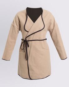 Assuili Gilda Fashion Long Coat Camel