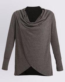 Assuili Long Sleeve Draped Top Grey