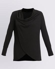Assuili Long Sleeve Draped Top Black
