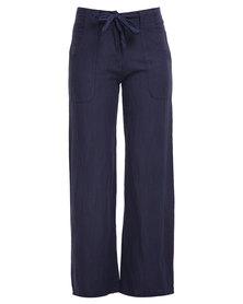 Assuili Linen Pants Navy Blue