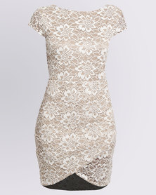 Assuili Flory Lace Dress Taupe/Ivory