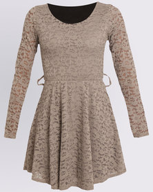 Assuili Lou Long Sleeves Round Collar Dress With Lace Belt Taupe
