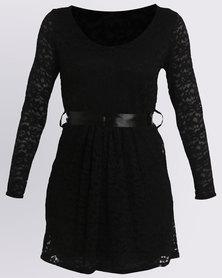 Assuili Dune Lace V-neck Dress Black