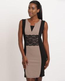 Assuili Joly Round Collar Dress Black/Taupe