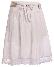 Assuili Lace Trim Skirt with Belt Beige