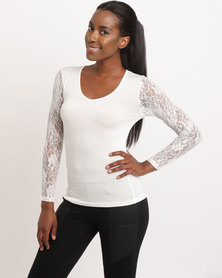 Assuili V Neck Top With Lace Ivory