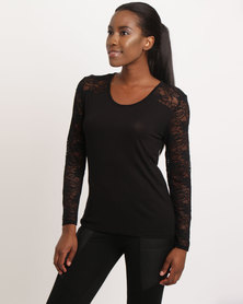 Assuili Round Collar With Lace Top Black