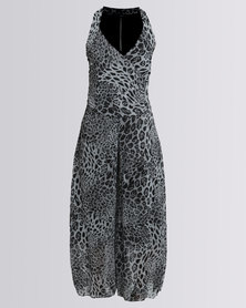 Assuili Holly Long Combination Liberty Jumpsuit Leopard/Black