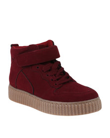 Awol Lace Up Hi Top Burgundy