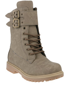 Awol Buckle Combat Boot Stone