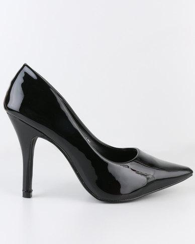 AWOL High Heel Pointy Court Shoe Black