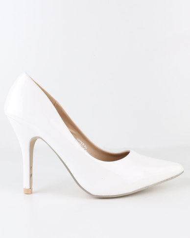 AWOL High Heel Pointy Court Shoe White