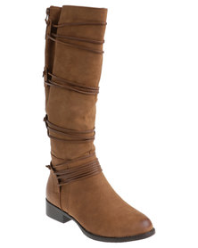 AWOL Lace Trim Rider Boot Tan