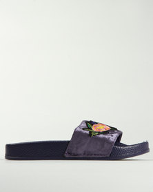 Awol Embroidered Slip On Flat Sandal Lilac