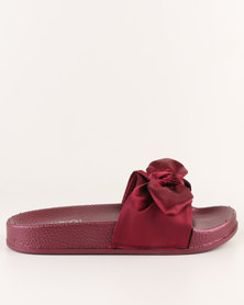 AWOL Slip On Flat Sandals Burgundy