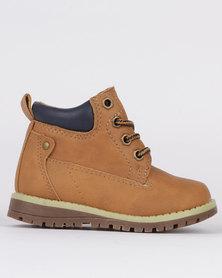 Awol Boys Lace Up Sneaker Boot Tan