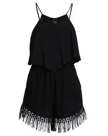 AX Paris  Tassel Playsuit Black