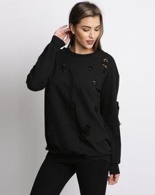AX Paris Distressed Jumper Dress Black