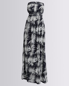 AX Paris Leaf Print Maxi Dress Navy