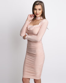 AX Paris Long Sleeve Ruched Dress Champagne