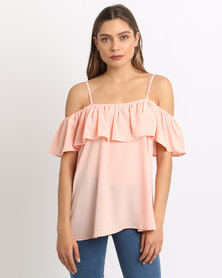 AX Paris Cold Shoulder Frill Top Blush