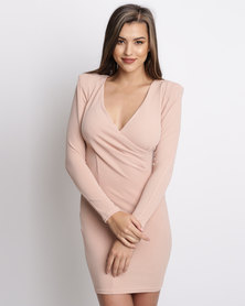 AX Paris Bodycon Ruched Dress Pink