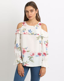 AX Paris Frill Printed Blouse Cream