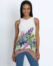 AX Paris Tropical Print Split Back Top Cream