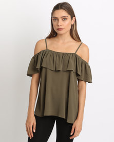 AX Paris Cold Shoulder Frill Top Khaki