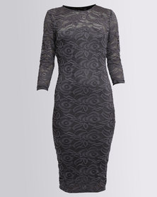 AX Paris 3/4 Bodycon Dress Pewter