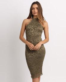 AX Paris Hi Neck Lace Midi Dress Khaki