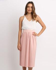 AX Paris Pleated Midi Dress Cream/Pink