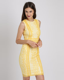 AX Paris Lace Bodycon Dress Yellow