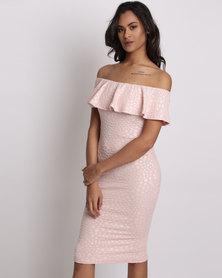 AX Paris Frill Bodycon Dress Blush